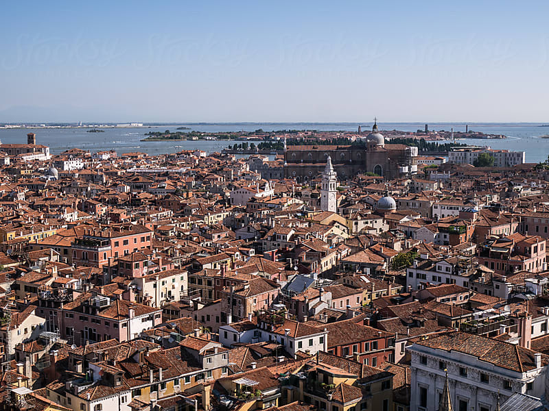 Aerial bird's eye view of Venice by Andreas Wonisch for Stocksy United