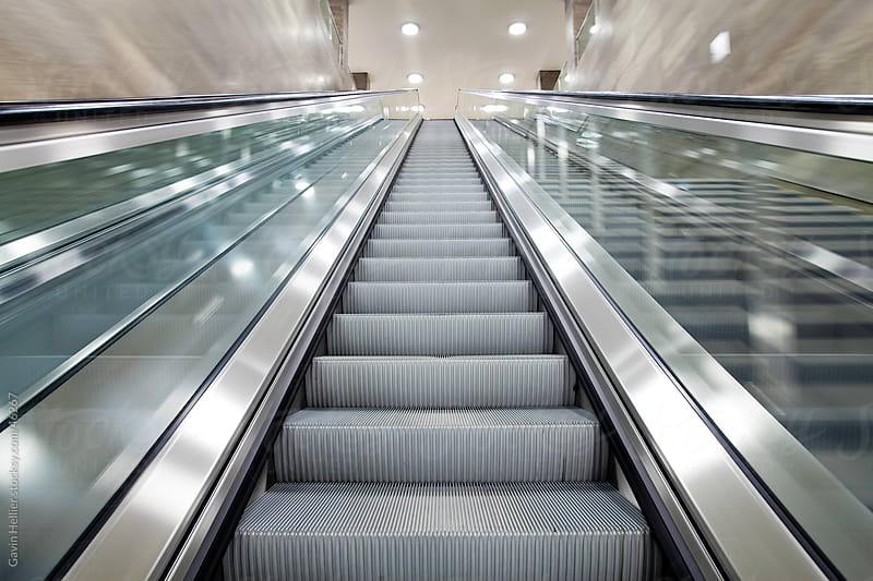 Europe, Germany, Berlin, escalator inside a modern office building  by Gavin Hellier for Stocksy United