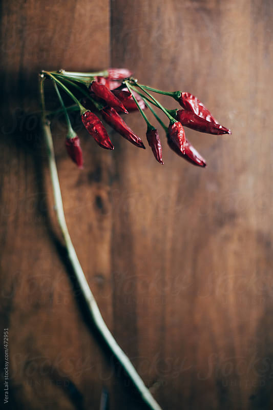 Chili pepper on wooden background by Vera Lair for Stocksy United