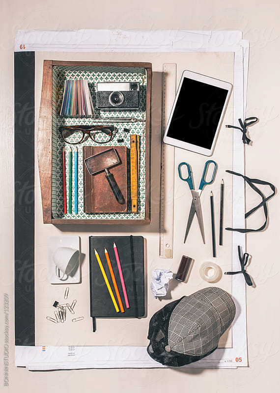Overhead of the objects of a  graphic designer. by BONNINSTUDIO for Stocksy United