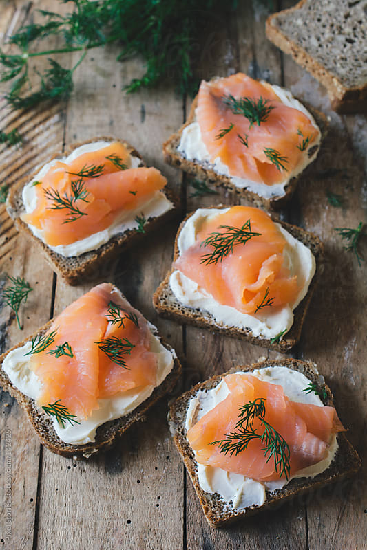 Smoked salmon sandwich by Pixel Stories for Stocksy United