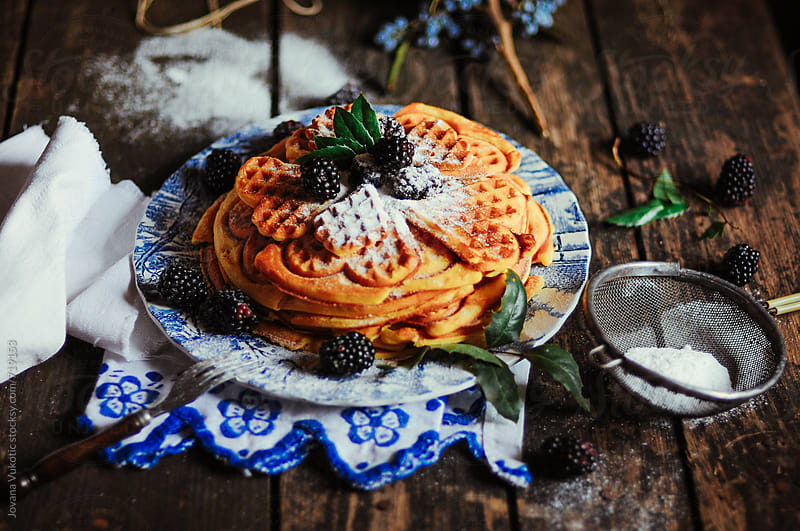 waffles on the rustic table by Jovana Vukotic for Stocksy United