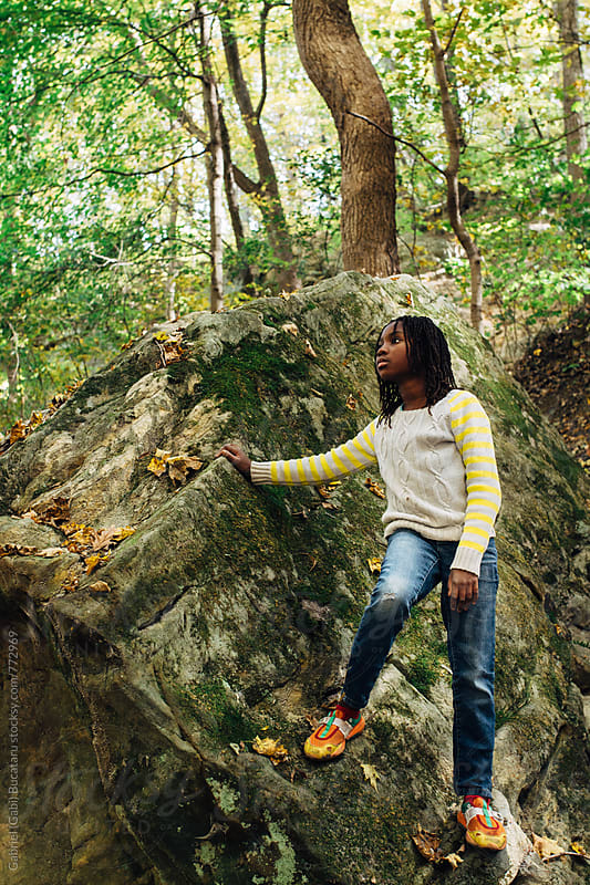 African American girl hiking in the woods by Gabriel (Gabi) Bucataru for Stocksy United