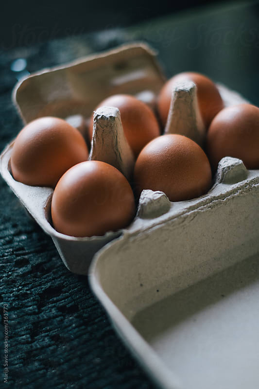 Six Eggs in Carton by Marija Savic for Stocksy United
