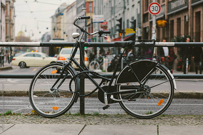 Urban Bicycle Parked in the Streets of Berlin by VICTOR TORRES for Stocksy United
