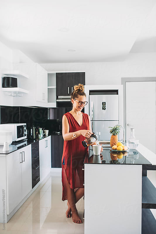 Woman Drinks Tea at Home by Lumina for Stocksy United