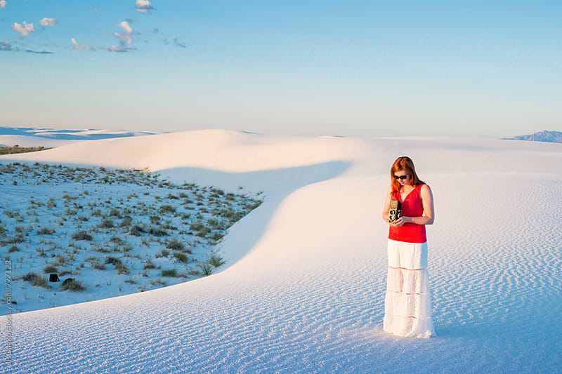 Woman Photographing White Sands National Monument in Soft Early Morning Light by JP Danko for Stocksy United
