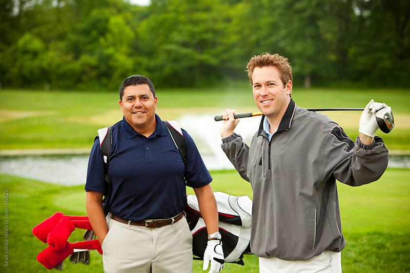 Golf: Two Friends on Golf Course by Sean Locke for Stocksy United
