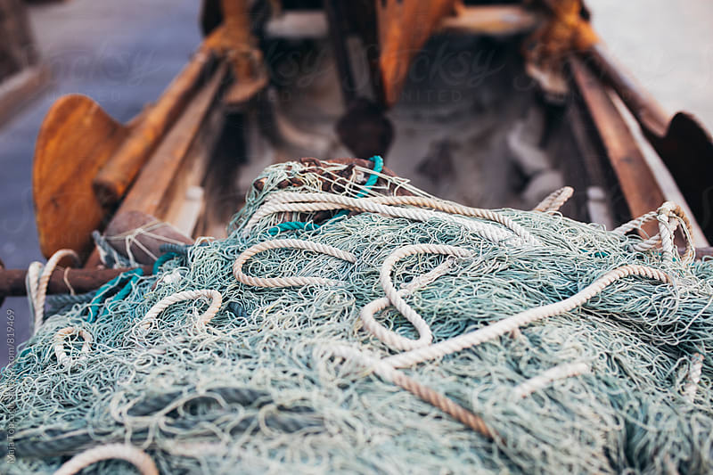 Vintage details of fisherman´s net and rope by Maja Topcagic for Stocksy United