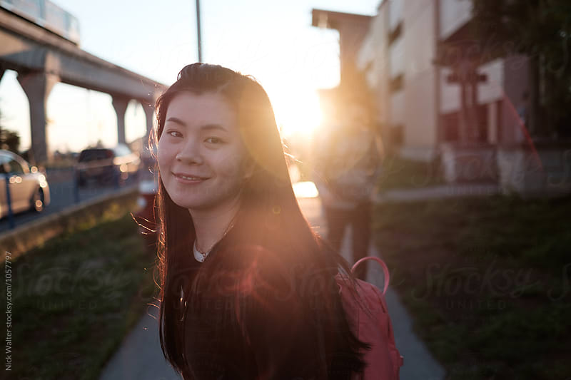 Asian Girl Portrait at Sunset by Nick Walter for Stocksy United