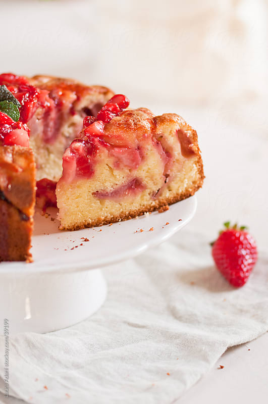 Strawberries soft cake, a slice by Laura Adani for Stocksy United