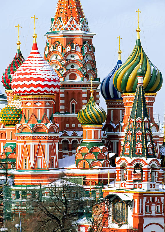 St. Basil's Christian cathedral in winter snow, Red Square, UNESCO World Heritage Site, Moscow, Russia, Europe by Gavin Hellier for Stocksy United