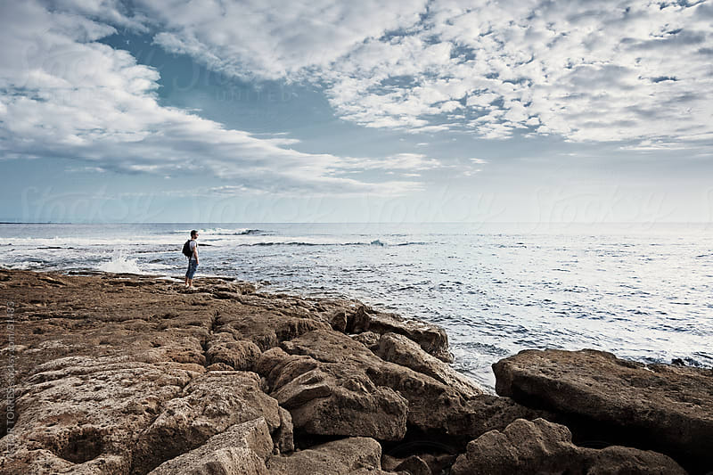 Lonely Man Looking at Sea by VICTOR TORRES for Stocksy United