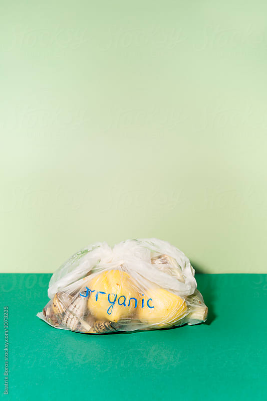 Organic waste on green surface in a biodegradable bag by Beatrix Boros for Stocksy United