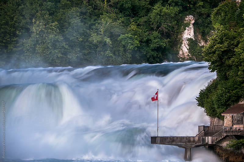 View of the Rheinfall Waterfall in Switzerland by Andreas Wonisch for Stocksy United