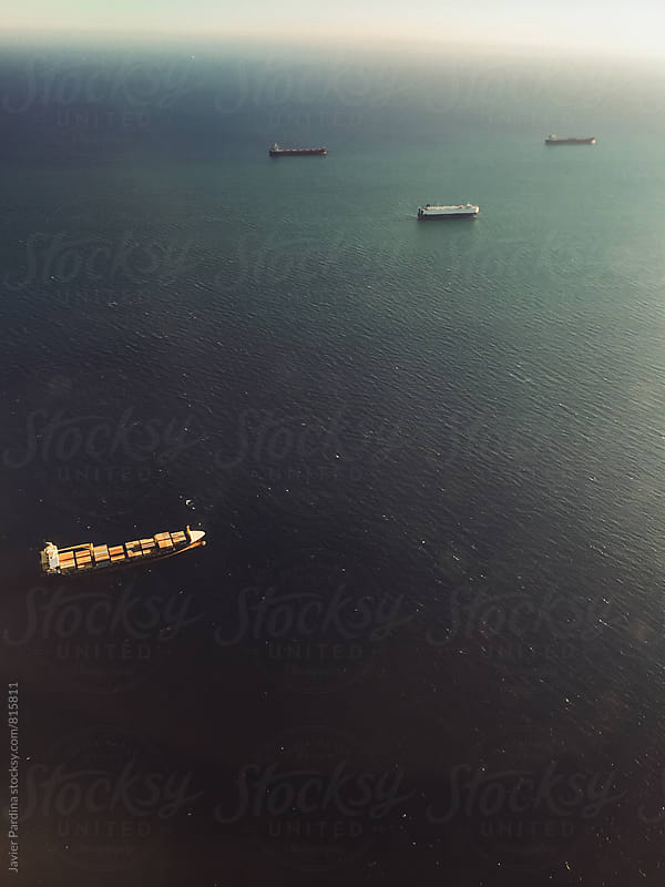 texture of the sea with ships from a height by Javier Pardina for Stocksy United