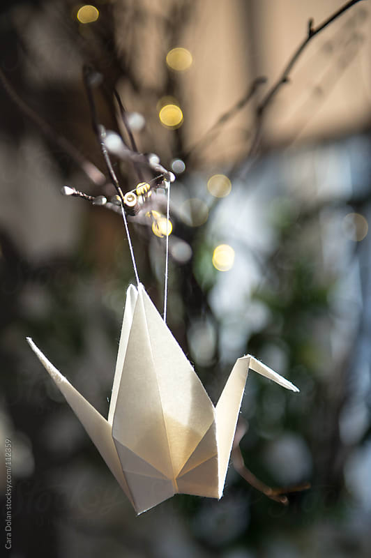 Origami paper crane hanging on a twig  by Cara Dolan for Stocksy United