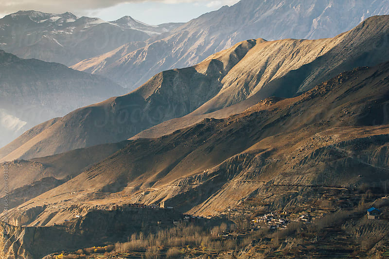 The village of Jhong in Mustang, surrounded by himalayas. by Shikhar Bhattarai for Stocksy United