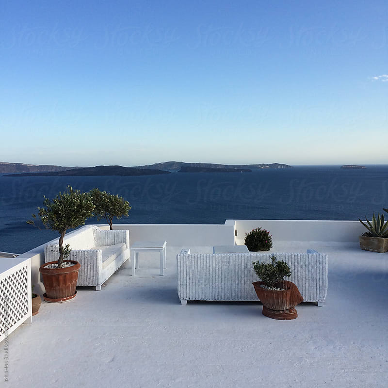 View from a balcony of Santorini by MaaHoo Studio for Stocksy United