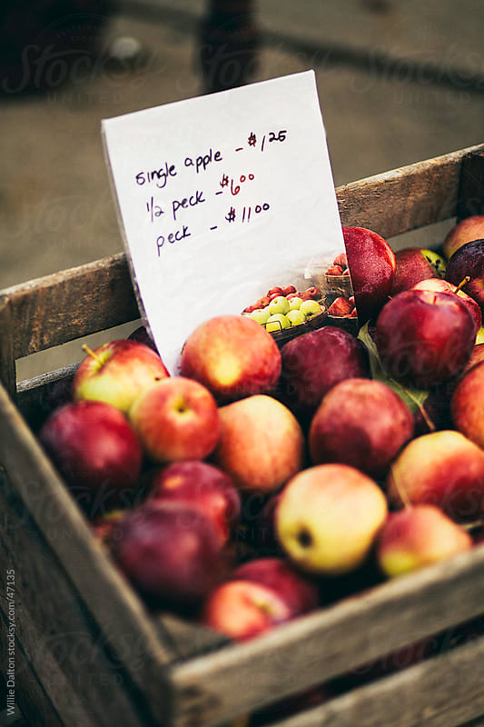 Crate of Apples with Pricing Sheet by Willie Dalton for Stocksy United