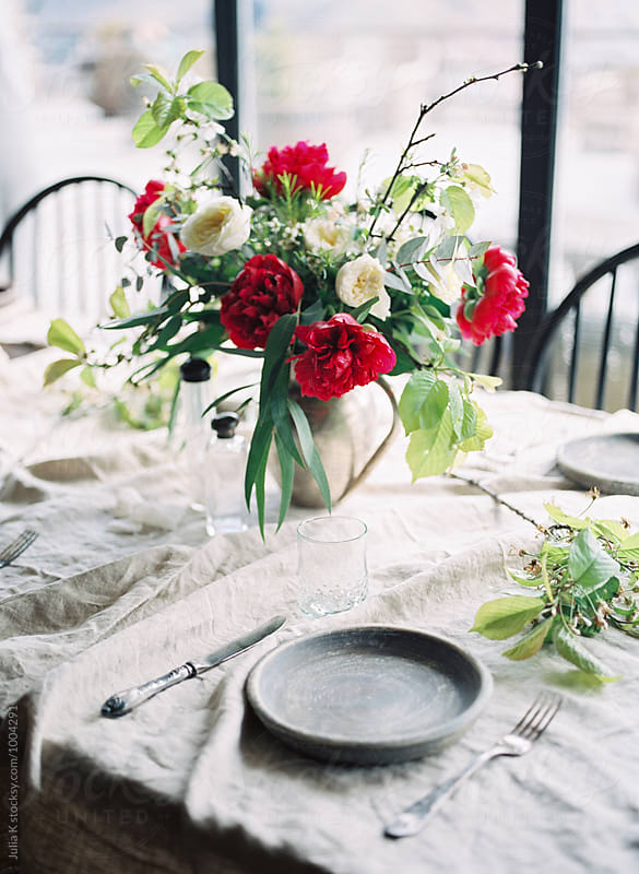 Rustic table setting by Julia Kaptelova for Stocksy United