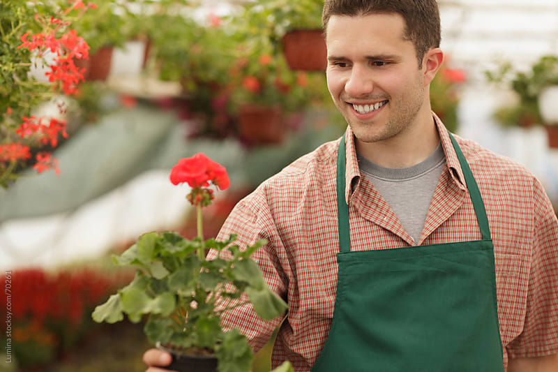Smiling Gardener Holding a Potted Flower by Lumina for Stocksy United