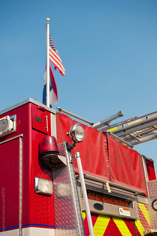 Firehouse: Fire Truck with American Flag by Sean Locke for Stocksy United