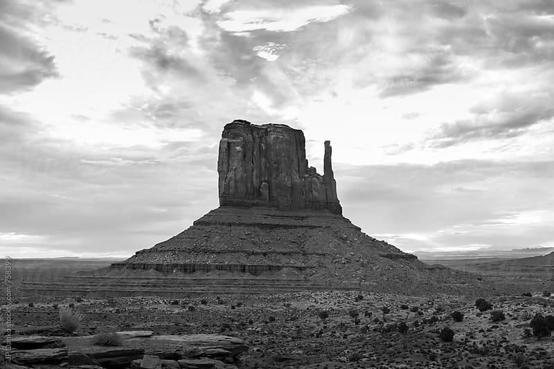 Monument Valley Utah USA Black and White Under Cloudy Dramatic Desert Sky At Sunrise by JP Danko for Stocksy United