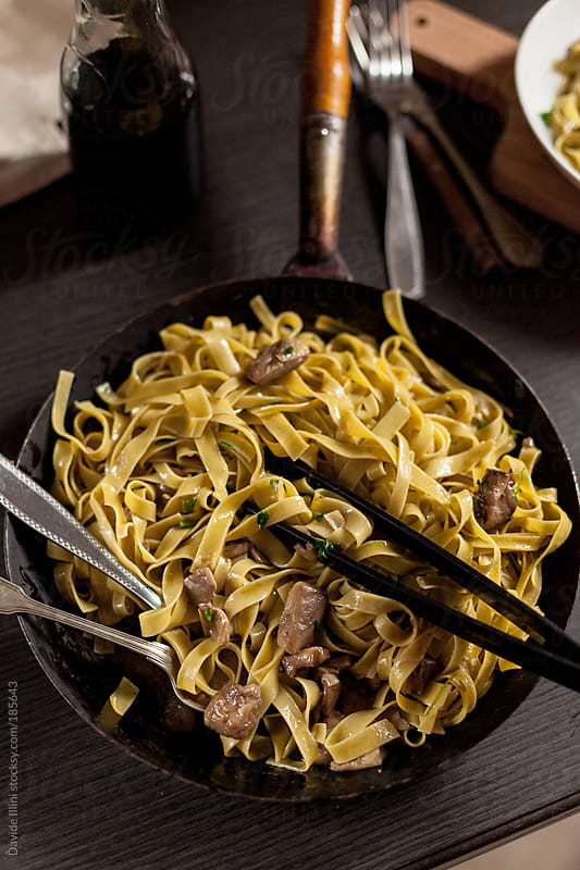 Tagliatelle with mushrooms by Davide Illini for Stocksy United