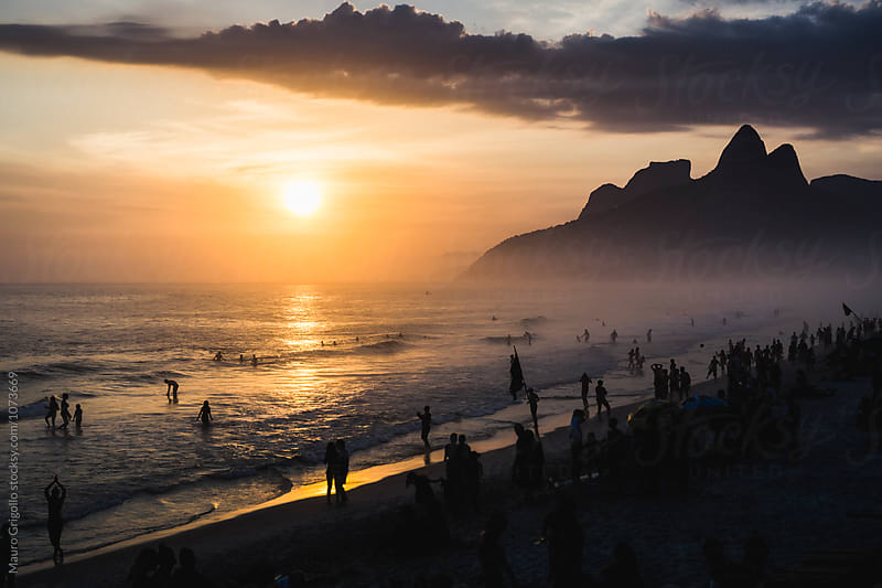 Sunset at Ipanema beach, Rio de Janeiro, Brazil by Mauro Grigollo for Stocksy United