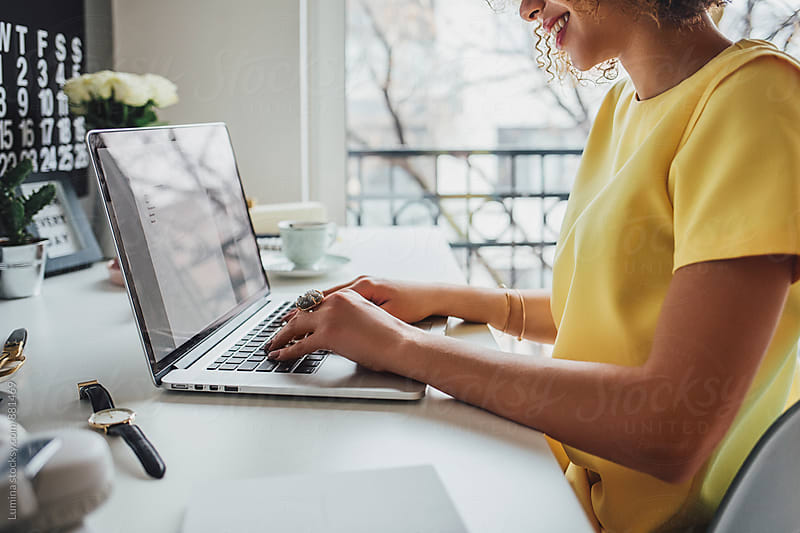 Woman Working on her Laptop at Home by Lumina for Stocksy United