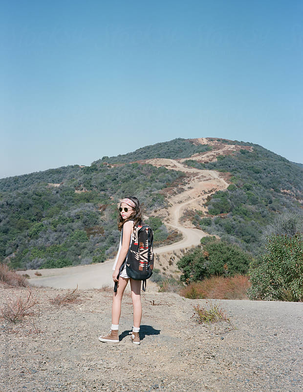 Young Girl on Hike by Skyler Dahan for Stocksy United