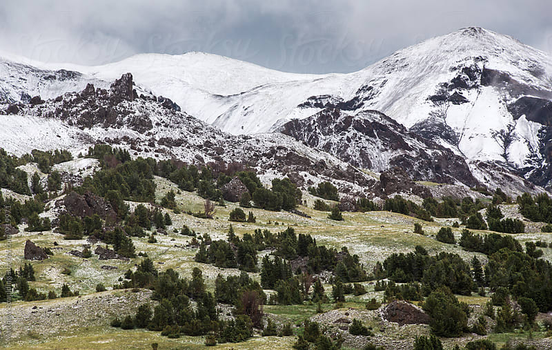 Pristine snowy landscape in Absorka Mountain Range, Wyoming wilderness by Matthew Spaulding for Stocksy United