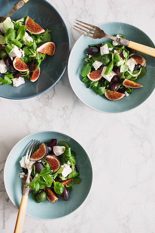 Goats cheese,beetroot and fig salad. by Darren Muir for Stocksy United