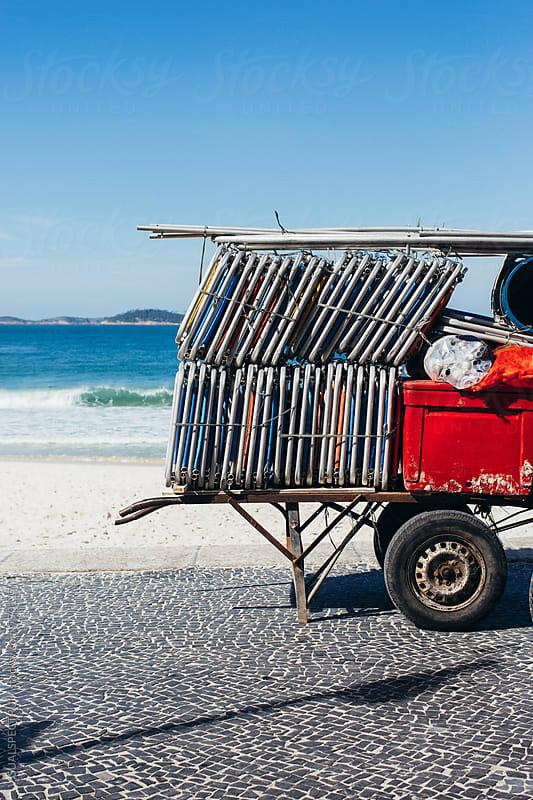 Rio de Janeiro - Stacked Beach Chairs on Ipanema Beach by VISUALSPECTRUM for Stocksy United