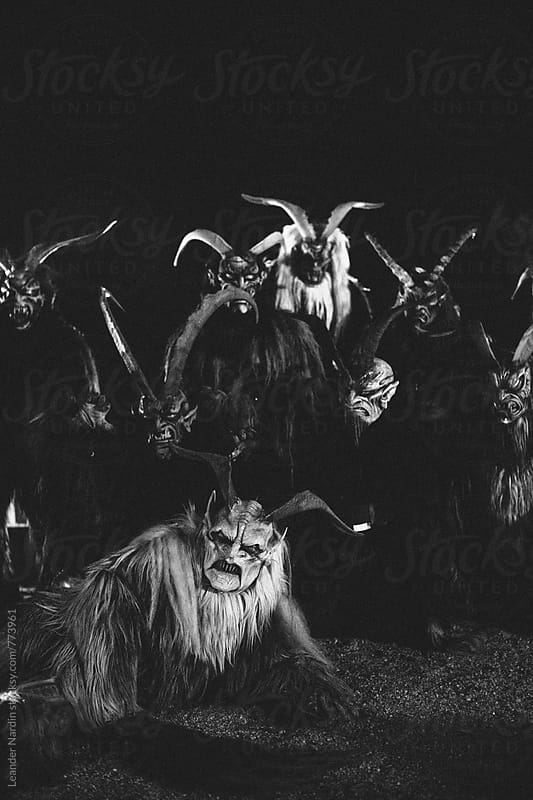 krampus pass in black and white by Leander Nardin for Stocksy United