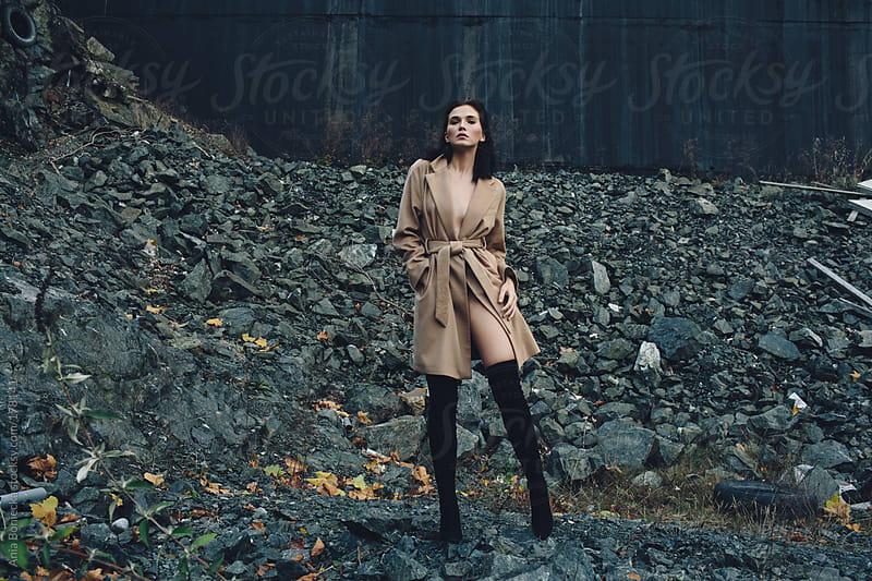 Beautiful girl in a stone quarry by Ania Boniecka for Stocksy United
