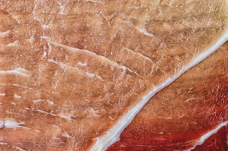 macro of a slice of bacon meat by Marcel for Stocksy United