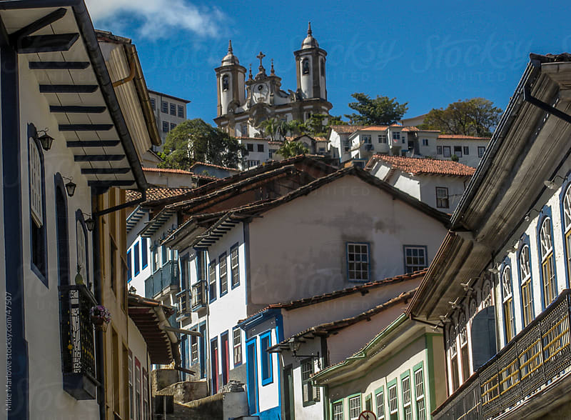 An old colonial street of houses in Brazil by Mike Marlowe for Stocksy United