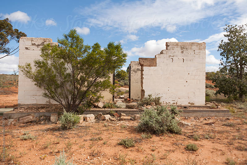 Derelict sandstone cottage in the outback by Ben Ryan for Stocksy United