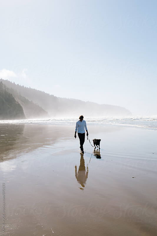 Man walking on the beach with his dog reflected in the sand by KATIE + JOE for Stocksy United