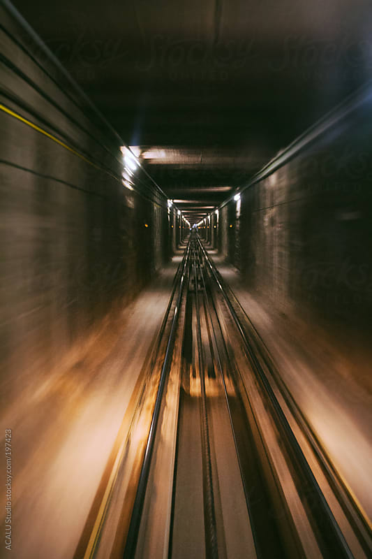 Out of focus funicular tracks by ACALU Studio for Stocksy United