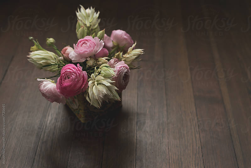 A Bouquet Of Ranunculus and Blushing Bride Flowers by Alison Winterroth for Stocksy United