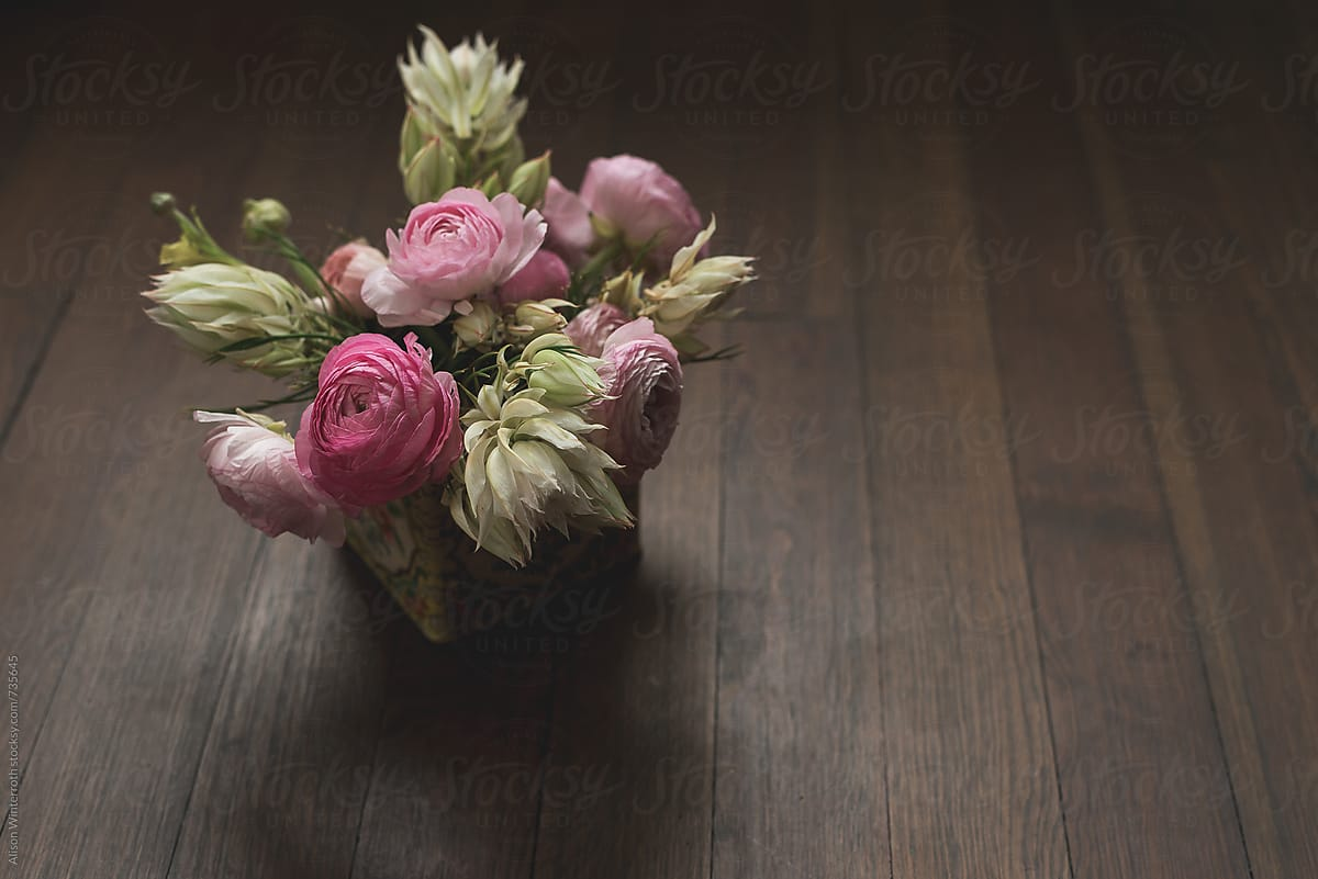 A Bouquet Of Ranunculus and Blushing Bride Flowers