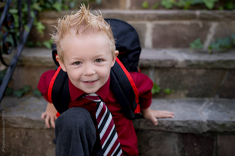 Happy Kindergarten Boy Going Back To School On First Day by JP Danko for Stocksy United