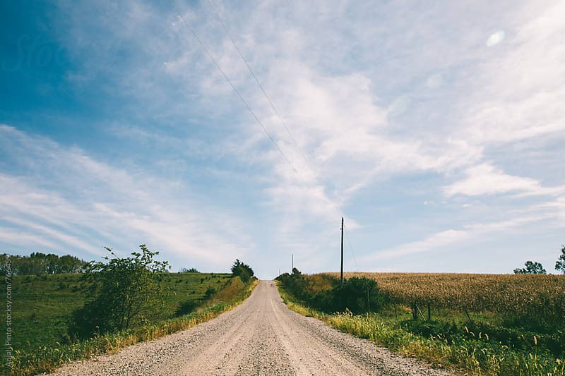 Open gravel road in rural america by Anjali Pinto for Stocksy United