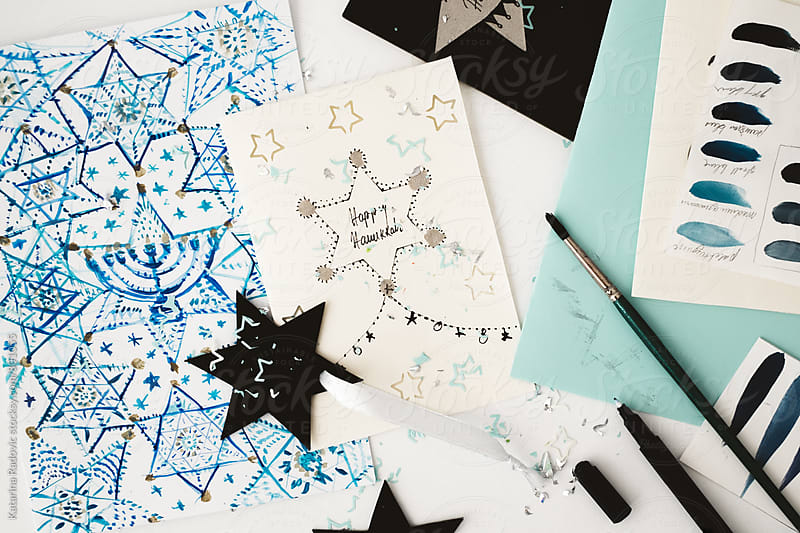 Handwritten DIY Hanukkah Holiday Cards  by Katarina Radovic for Stocksy United