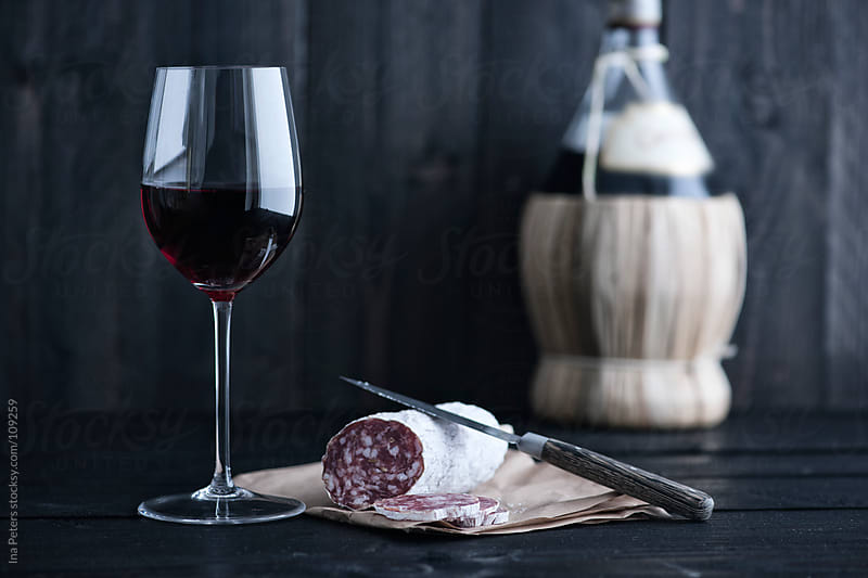 Wine: Chianti and fennel seed salami by Ina Peters for Stocksy United