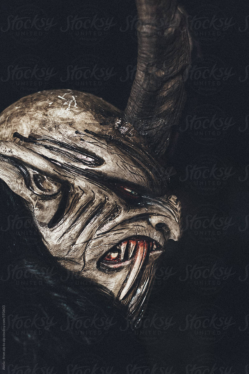 Handmade Carved Wooden Mask From A Krampus By Akela From Alp To