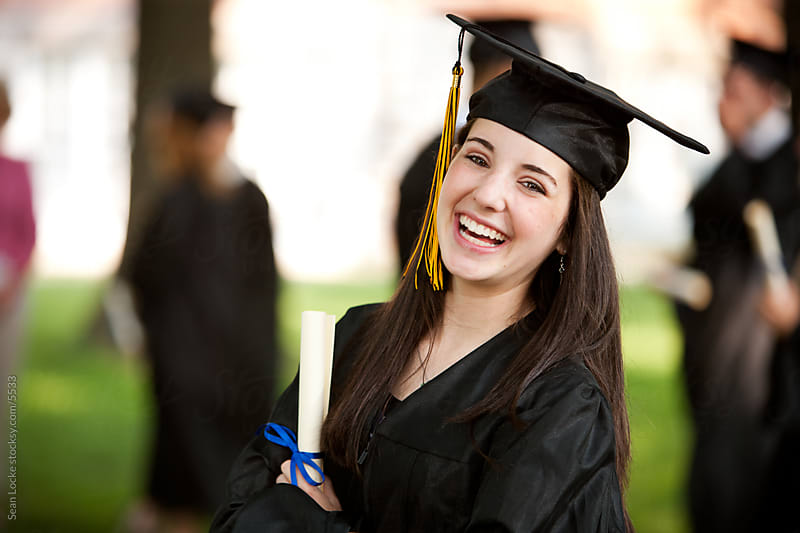 Graduation: Pretty, Smiling High School Graduate by Sean Locke for Stocksy United